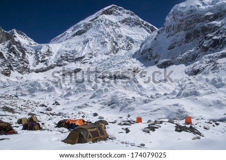 EVEREST BASE CAMP, NEPAL - CIRCA OCTOBER 2013: expedition at Everest Base Camp  circa October 2013 in Everest Base Camp.