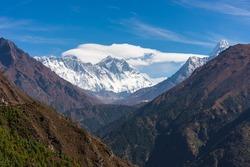Everest, Lhotse, and Ama Dablam mountain peak in Himalaya mountains range. Everest base camp trekking route in Nepal, Asia