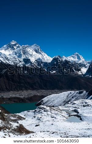 Everest, Nuptse, Lhotse and Makalu peaks. Gokyo lake and village. Gokyo lake and village