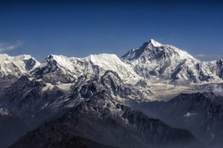 Everest Peak and Himalaya Everest mountain range panorama