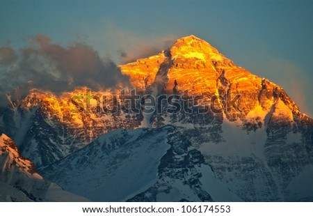 Everest sunset. Taken in the Flannelette temple of north side Everest. - stock photo