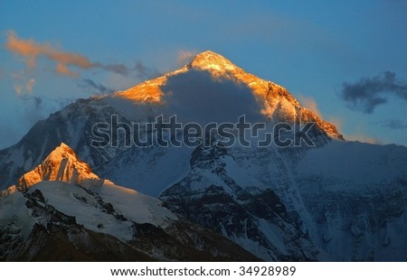 Everest sunset. Taken in the Flannelette temple of north side Everest.
