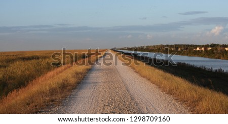 Everglades Conservation Levee Greenway Pathway at Sunset ストックフォト ©