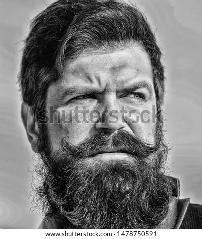 Every beard completely unique. Facial hair beard and mustache care. Beard fashion trend. Invest in stylish appearance. Grow thick beard fast. Man bearded hipster wear formal suit blue sky background.