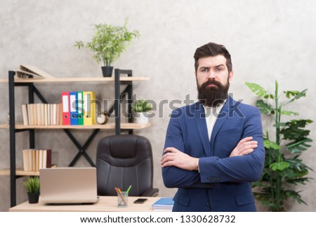 Every boss started as worker. Man bearded hipster boss looking at you with attention. Boss standing in office. Boss receive complaints. Executive director and ceo leadership titles in organizations. #1330628732