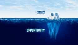 Every crisis is opportunity to change. Concept with iceberg, crisis is visible, opportunity is hidden under water. There is potential in post-covid era to do things better.