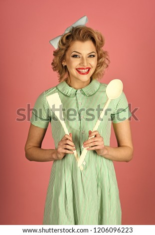 4b4fcbb81 Pinup woman cook hold kitchenware