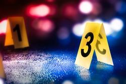evidence markers on the floor /high contrast image
