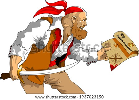 Evil and scary pirate with treasure island map, vector ストックフォト ©