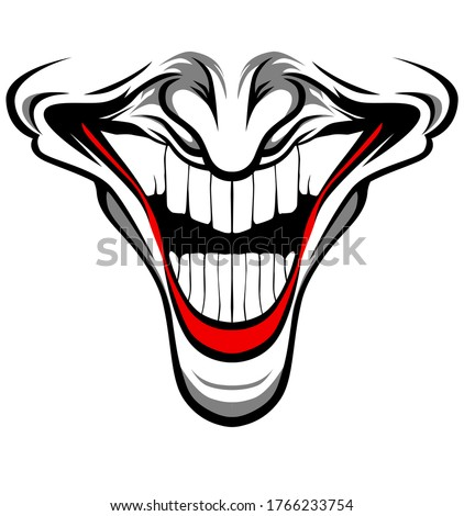Evil Clown face with red lips and nose / Creepy clown or horrorclown, clown horror smiley face. Clown mouth, Joker Smile for Halloween. Illustration