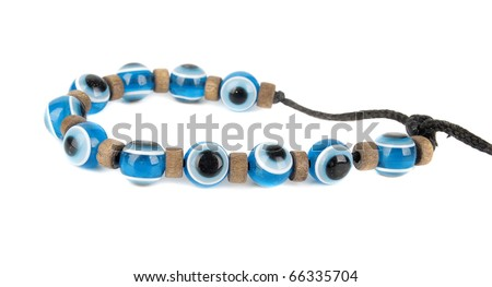Evil eye children summer  bracelet . Mediterranean people believed that evil eye keeps evil things away. Isolated on the white background.
