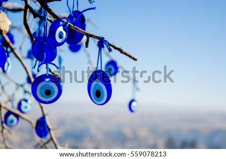 Evil eye, eye-shaped lucky charm at Cappadocia region in Turkey Сток-фото ©