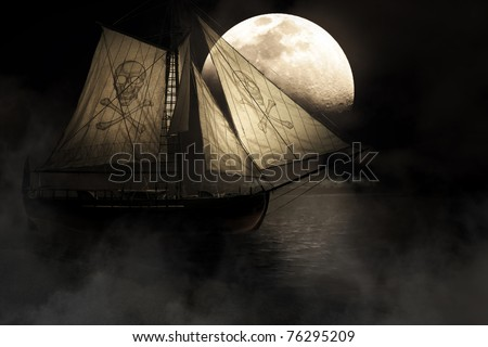 Evil Haunting And Mysterious Image Of A Ghostly Ship With Skull And Crossbones Mast Sailing Through Fog And Mist Under A Full Moon Night Sky