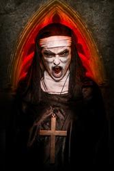Evil Possessed Nun screaming wearing a cross