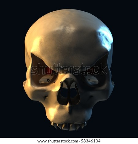 evil skull on dark background