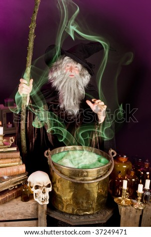 Evil sorcerer casting a spell on green poison soup