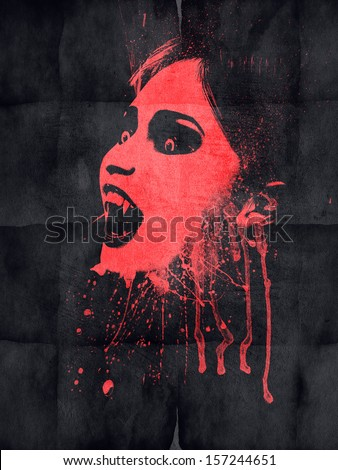 Stock Photo Evil vampire with blood on black grunge paper.
