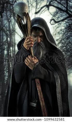 Evil Warlock posing in an enchanted dark forest. 3d rendering Сток-фото ©