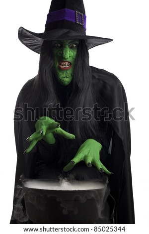 Evil witch casting spells over her misty cauldron, white background.