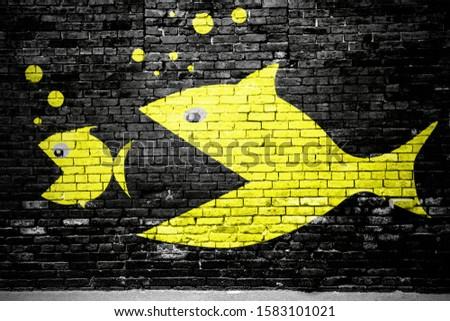 Evolution lettering saying Graffiti on Brick Wall Photo stock ©