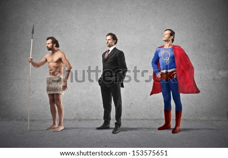 Evolution Of Man From Caveman To Super Hero