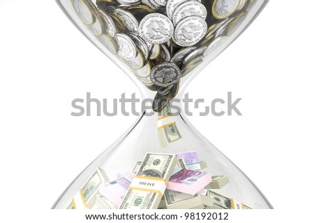 Evolution of money over time on a white isolated background - stock photo