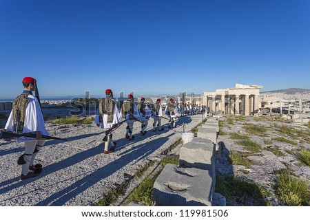 Evzones (presidential guards) at the Athenian Acropolis, Greece