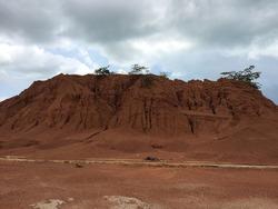 ex-mining hill in dompak island, Indonesia