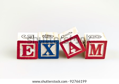 Exam word made by letter blocks
