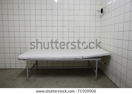 Examination room in old underground hospital.