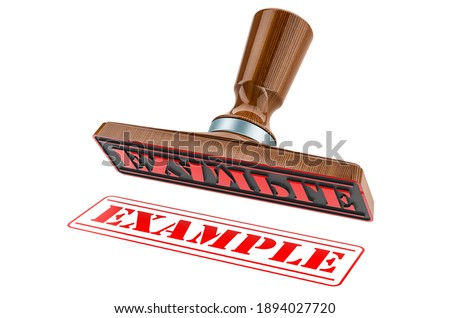 Example stamp. Wooden stamper, seal with text example, 3D rendering isolated on white background ストックフォト ©