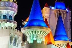 Excalibur Castle Casino in Las Vegas at night