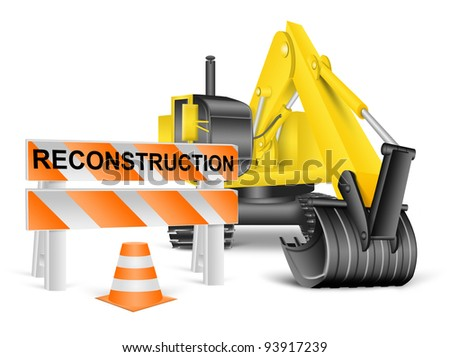 excavator and construction barrier, reconstruction concept on white