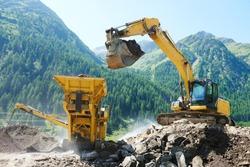 excavator and stone crusher machine