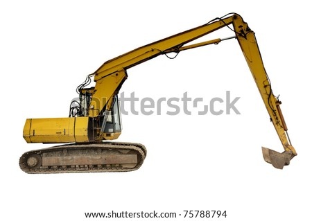 Excavator digger isolated on white background