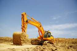 Excavator excavation work. The work of construction equipment in the production of earthworks