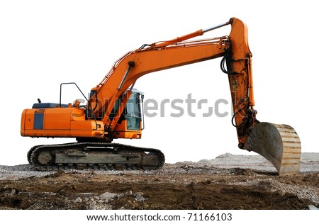Excavator Excavator in yellow and orange color working on brown soil