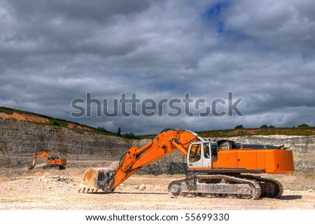 Excavator in a limestone quarry