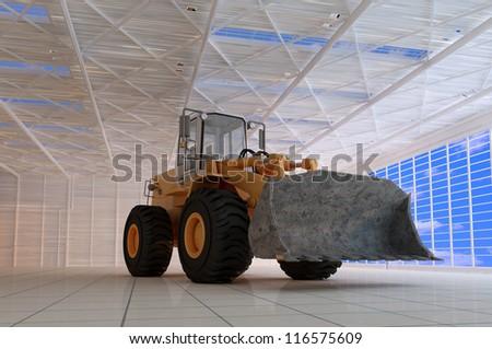 Excavator in the hangar.
