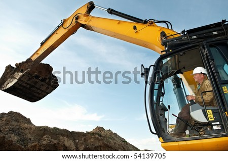 excavator loader driver working at construction building area
