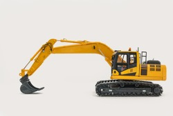Excavator loader model on isolated white background