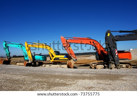 excavator on a building site on a sunny day