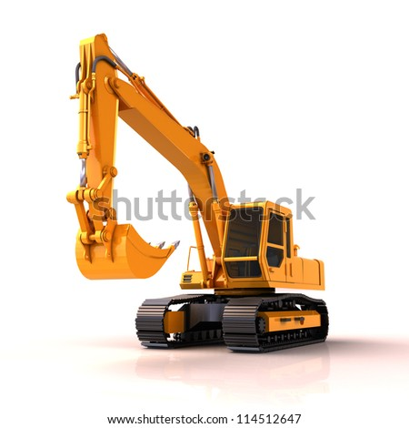 Excavator on a white background, with reflection and shadow