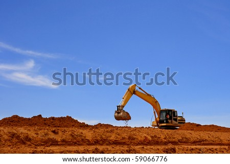 excavator on a working platform