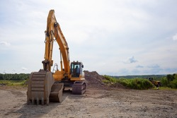 excavator on construction site heavy machine yellow equipment