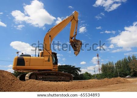 excavator on site working.