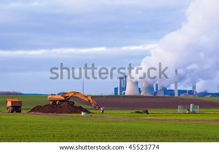 Excavator, truck and power plant