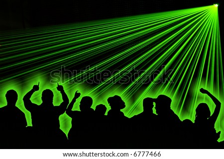 Excelent green laser party at the club with dance silhouette people.