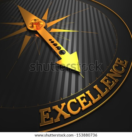 Excellence - Business Background. Golden Compass Needle on a Black Field Pointing to the Word