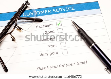 Excellent check box on customer service satisfaction survey with keyboard and mouse